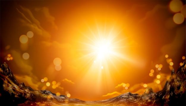 Paisaje natural con montaña y sol brillante.