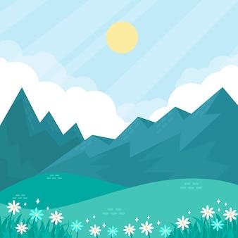 Paisaje natural de primavera con flores y montañas brumosas
