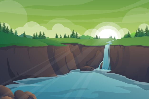 Paisaje natural tropical con cascada de rocas, paisaje de jungla de acantilado de cascada, corrientes de agua que fluyen, bosques exóticos verdes con naturaleza salvaje e ilustración de fondo de follaje de arbustos.