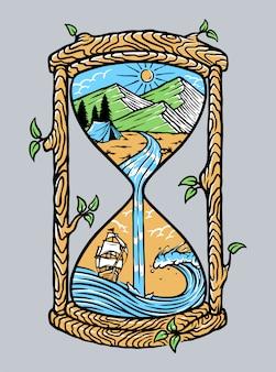 Paisaje natural en una vieja ilustración de reloj de arena