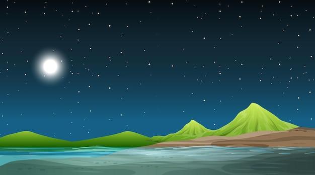 Paisaje de la naturaleza en blanco en la escena nocturna con fondo de montaña
