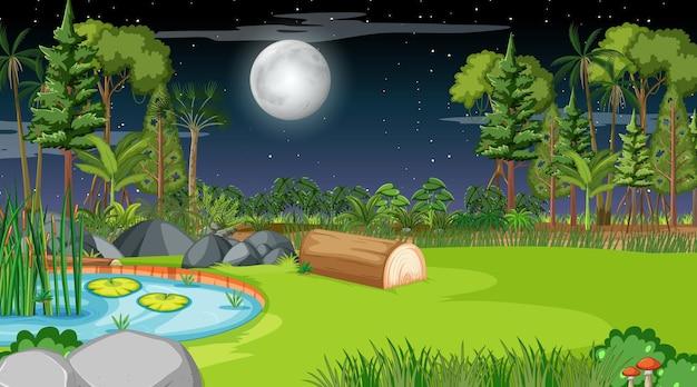 Paisaje de la naturaleza en blanco en la escena nocturna
