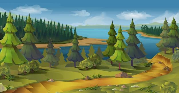 Paisaje de la naturaleza, bosque de pinos, fondo