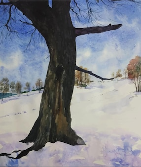 Paisaje de naturaleza dibujado a mano acuarela con hermosa ilustración de árbol