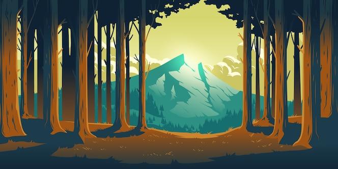 Paisaje de la naturaleza de dibujos animados con la montaña en el bosque de árboles de hoja caduca despeje de troncos