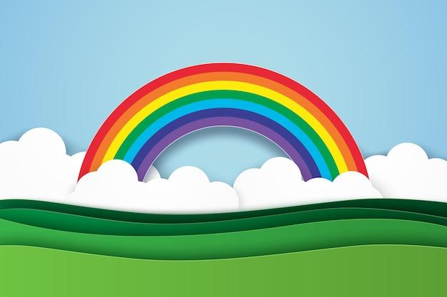 Paisaje de la naturaleza con fondo de arco iris, estilo de arte de papel