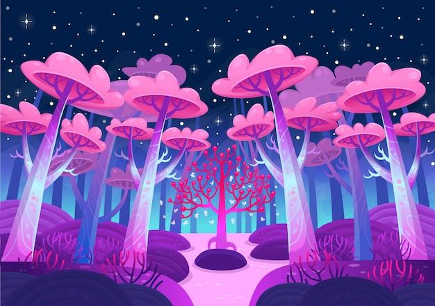 Un paisaje de naturaleza de juego. bosque nocturno con árboles mágicos y un lago. vector de estilo de dibujos animados