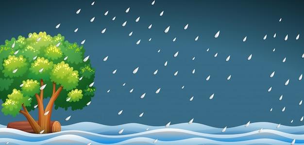 Un paisaje de naturaleza lloviendo.