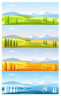 Paisaje de naturaleza de montaña en cuatro estaciones.