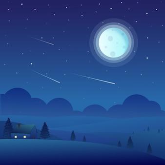Paisaje de naturaleza de noche con casa y luna llena
