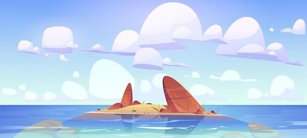 Paisaje de la naturaleza poco profunda del océano tierra rocosa en agua de mar limpia bajo nubes esponjosas en el cielo isla de roca ...