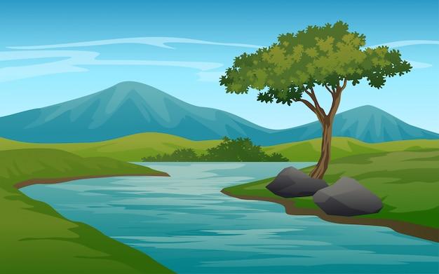Paisaje de naturaleza con río y montaña