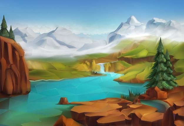 Paisaje, naturaleza, vector, ilustración, montañas