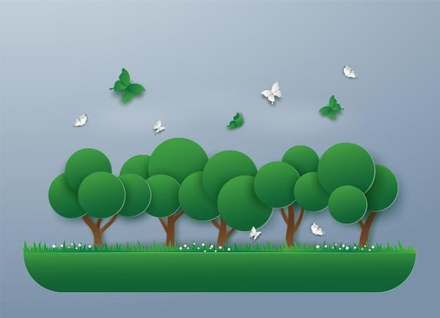 Paisaje de naturaleza verde con eco energía y medio ambiente, árboles y mariposas. diseño de arte de ilustración vectorial en estilo de corte de papel.