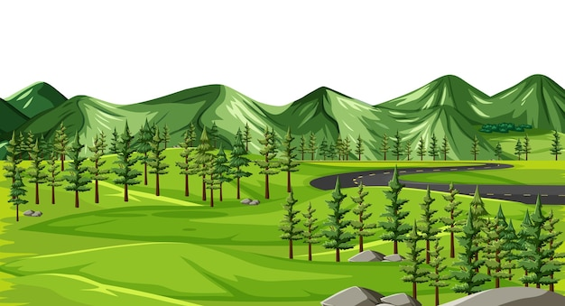 Un paisaje de naturaleza verde. vector gratuito