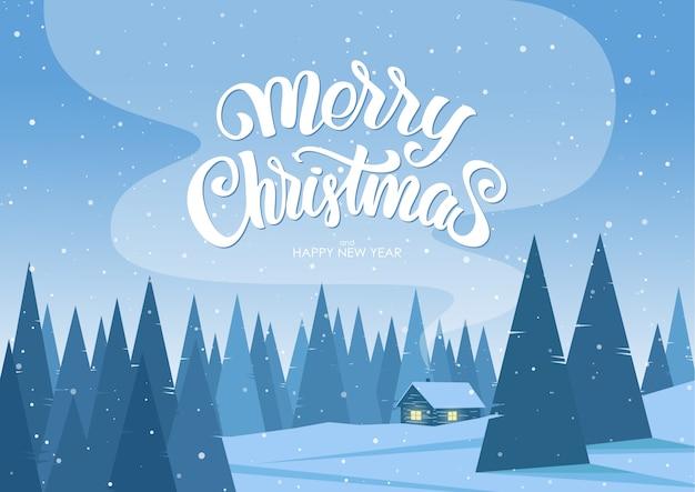 Paisaje de navidad de invierno con casa de dibujos animados y letras escritas a mano de feliz navidad