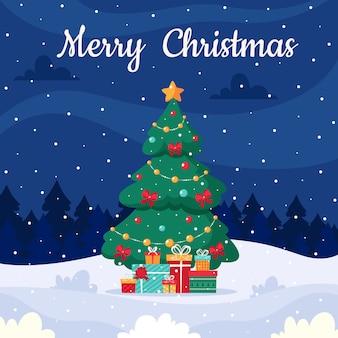 Paisaje navideño con árbol de navidad y regalos.