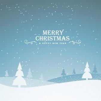 Paisaje navideño con nieve