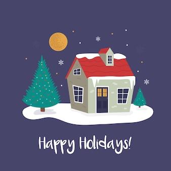 Paisaje navideño de vacaciones de un acogedor edificio en el bosque. ilustración de vector en un estilo plano moderno