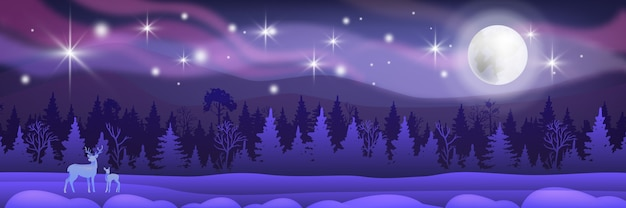 Paisaje de neón de navidad de invierno con nieve, cielo nocturno, silueta de bosque, luna, estrellas