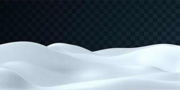 Paisaje nevado aislado sobre fondo transparente oscuro. ilustración de la escena de decoración de invierno. fondo de colinas de nieve. elemento de diseño de ventisquero. concepto de arte del juego