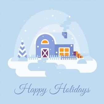 Paisaje nevado de invierno con casa de campo. felices fiestas de texto.