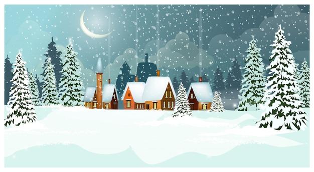 Paisaje nevado de invierno con casas de campo y abetos.