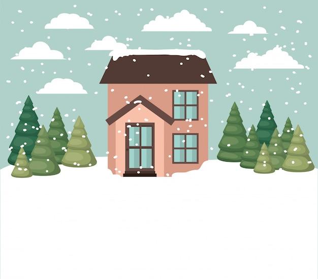 Paisaje nevado con linda casa