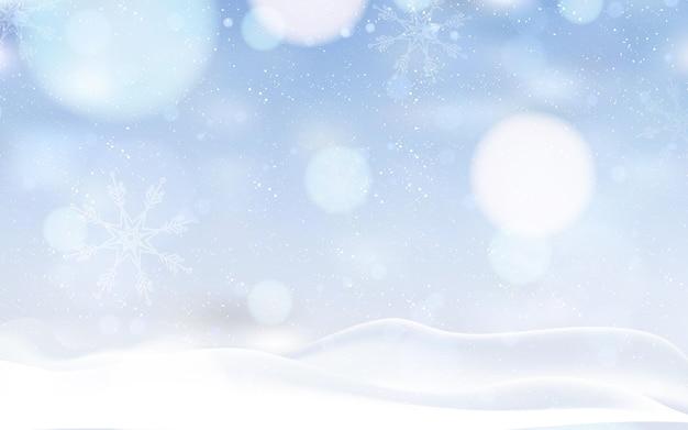 Paisaje de nieve de fondo de invierno borrosa