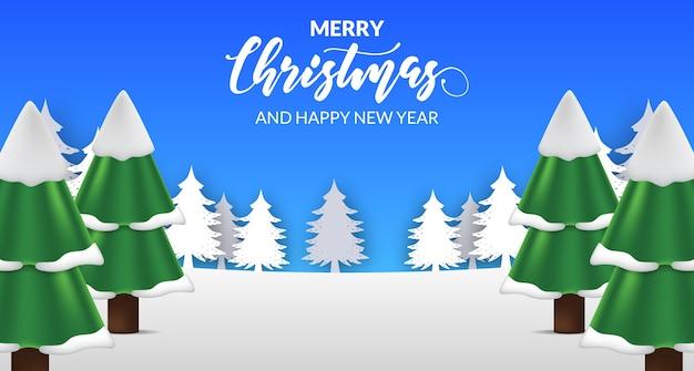 Paisaje de nieve con ilustración de abeto pino para feliz navidad y feliz año nuevo tarjeta de felicitación
