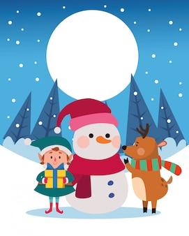 Paisaje de nieve de invierno escena navideña con ilustración de muñeco de nieve