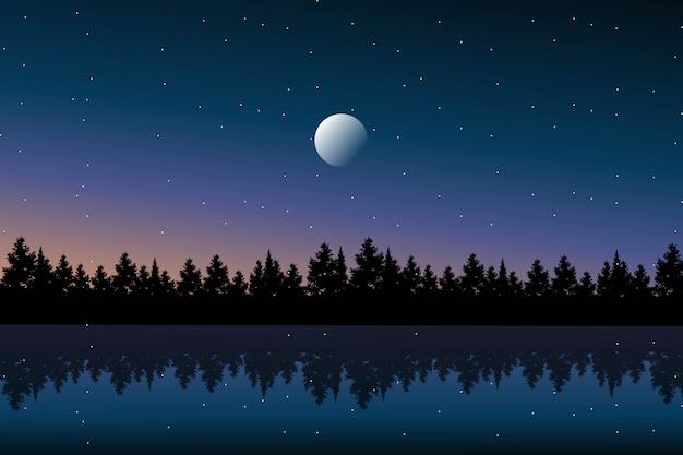 Paisaje noche estrellada con fondo de bosque de pinos