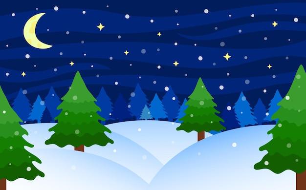 Paisaje de noche de invierno. paisaje de bosque de abetos nevados. temporada de invierno. ilustración vectorial