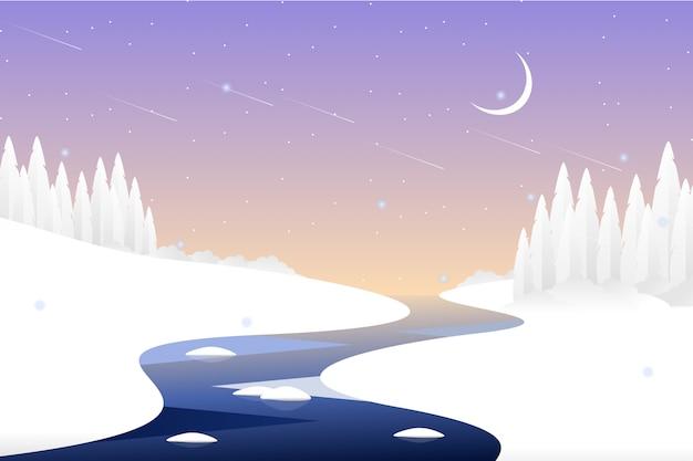 Paisaje noche de invierno con paisaje de bosque de pinos