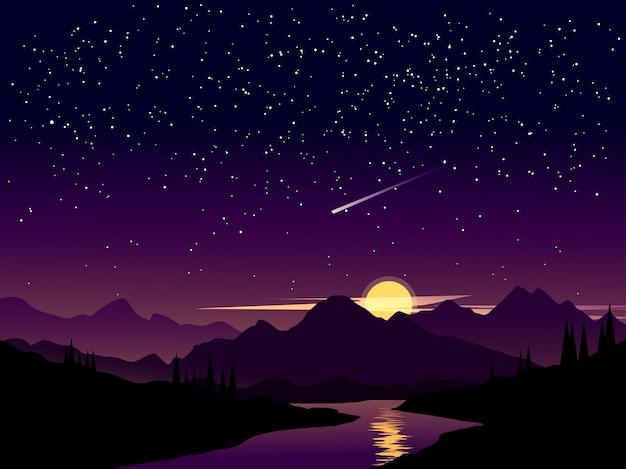 Paisaje nocturno con cielo estrellado y estrellas fugaces.