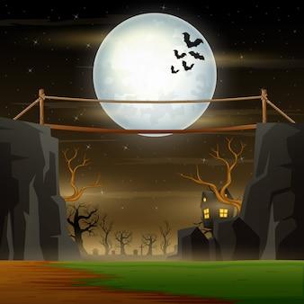 Paisaje nocturno de halloween con puente sobre el acantilado