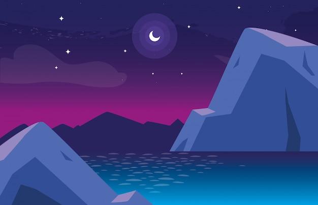 Paisaje nocturno con el icono de la escena del lago