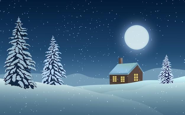 Paisaje nocturno de invierno con luna y casa.