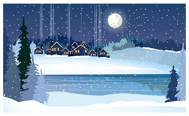 Paisaje nocturno de invierno con río helado, abetos y casas de campo.
