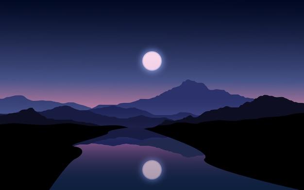Paisaje nocturno con luna llena, montaña y río.