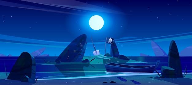 Paisaje nocturno de mar, playa, barco e isla en agua con bandera pirata y pala