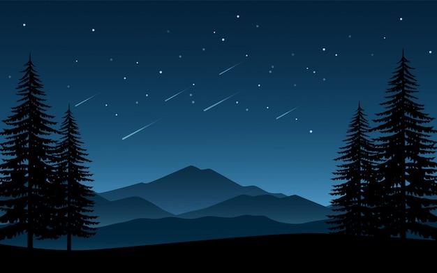 Paisaje nocturno minimalista con pinos y estrellas fugaces