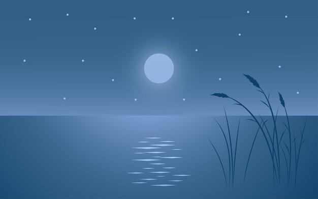 Paisaje nocturno minimalista con silueta de hierba y agua.