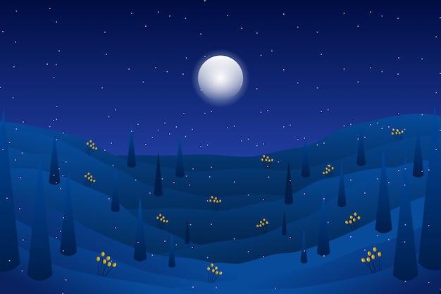 Paisaje nocturno con montaña con ilustración de estrellas