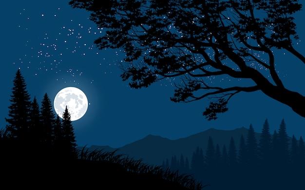 Paisaje nocturno de montaña con luna llena