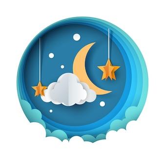 Paisaje nocturno de papel de dibujos animados. luna, estrella, camino de nubes