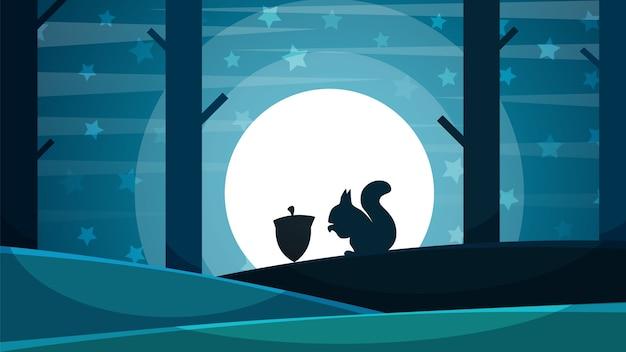 Paisaje nocturno de papel. ilustración de salto de ardilla