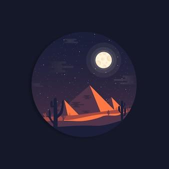 Paisaje nocturno de las pirámides egipcias.
