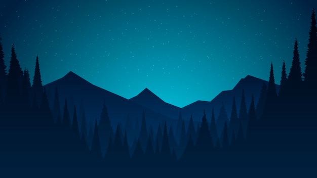 Paisaje nocturno plano con colinas y cielo estrellado.