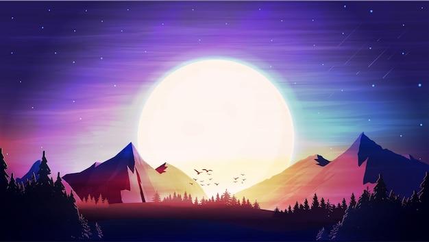 Paisaje nocturno con puesta de sol y montañas en el horizonte.